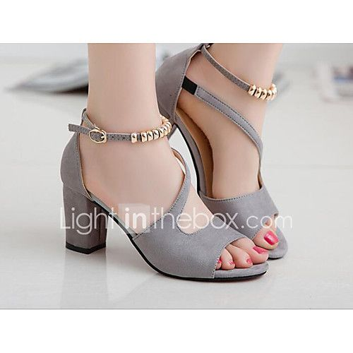 Women's Heels Basic Pump Summer Leatherette Leather Casual Black Gray Green Blushing Pink 1in-1 3/4in 2017 - $16.99