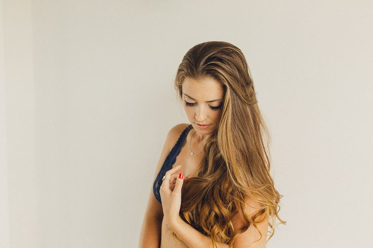 Lovely Red nails and Navy bralette, colours working well together!  Fine Art Women's Portraiture by Novella