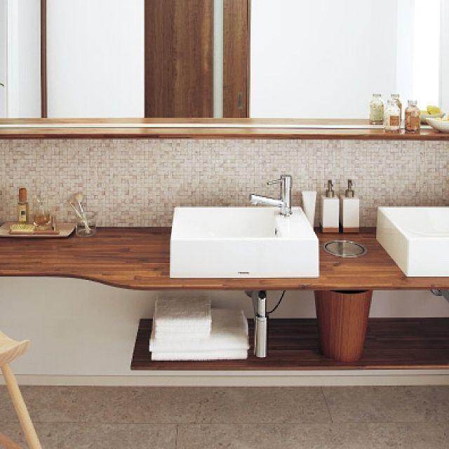 洗面所 リノベーションのまとめページ   RoomClip (ルームクリップ) 洗面所とリノベーションとタイル洗面台のインテリア実例