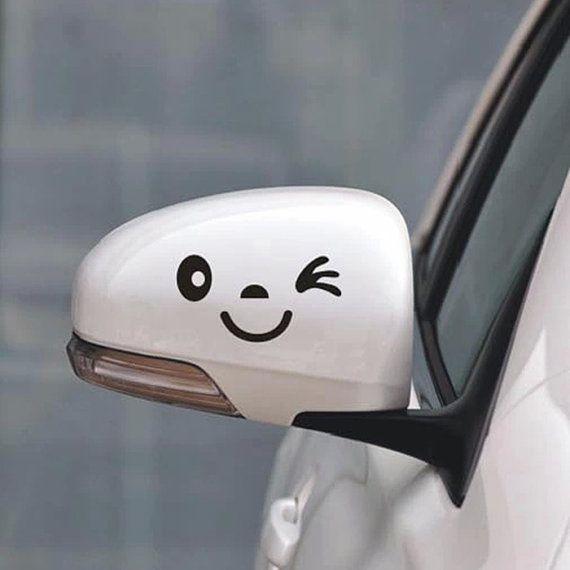 Funny Car Decal, Smiley Face, Car Mirror Sticker, Funny Bumper Sticker, Rear view Mirror, Funny Sticker, Funny Decal, Cute Car Decal