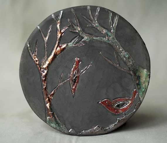 Ceramic picture Bird raku tile ceramic tile