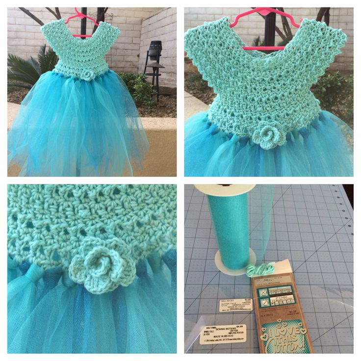 "Crochet Elsa Frozen tulle dress for 4-6 yr old.  This was so much fun to make!! Materials used: ""I love this cotton yarn"" in Aqua Sparkle, 5mm hook, Tulle colors: light aqua/turquoise, crochet bodice pattern by MilArt youtube.com"