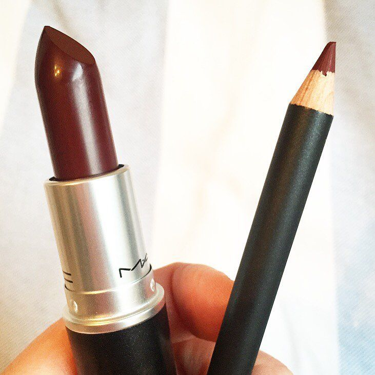 MAC Sin Lipstick- (pictured with MAC Burgundy lipliner). A matte deep cranberry shade. This is like a matte version of MAC Dark Side -Perfect fall matte lip!
