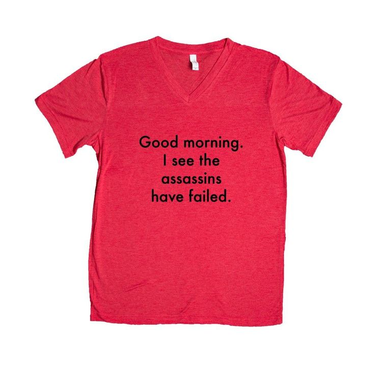 Good Morning I See The Assassins Have Failed Sarcastic Sarcasm Rude Joke Joking Mean Annoyed Annoyance SGAL6 Unisex V Neck Shirt