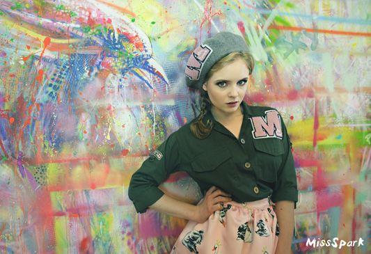 Olga Kalicka for MissSpark. Beautiful Pink Skirt, Army Jacket & Beret available online: shop.missspark.com. Photo session in artistic company. Photo/Styling: Agnieszka Iskierka