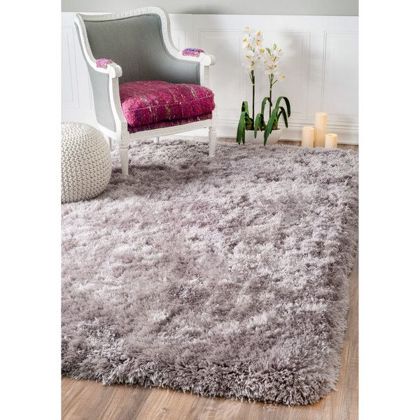 nuLOOM Solid Soft and Plush White/ Grey Shag Rug (7'6 x 9'6)