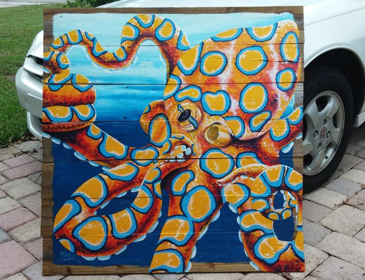 "38x38"" Blue Ringed Octopus Painting. Commission ..."