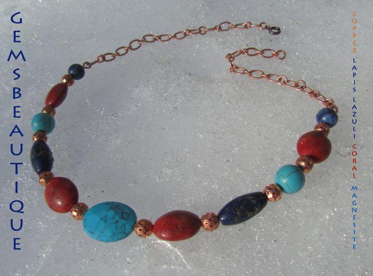 #Copper #Jewelry #coral #lapis #lazuli #copper #necklace by #GemsBeautique