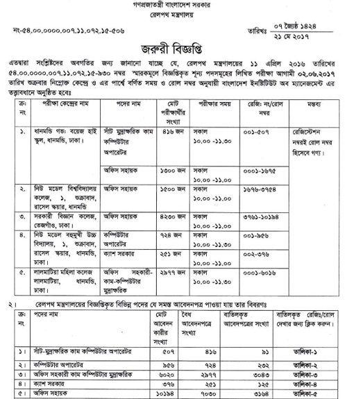 Bangladesh Railway Job Exam Date 2017 , Bangladesh Railway Job result ,