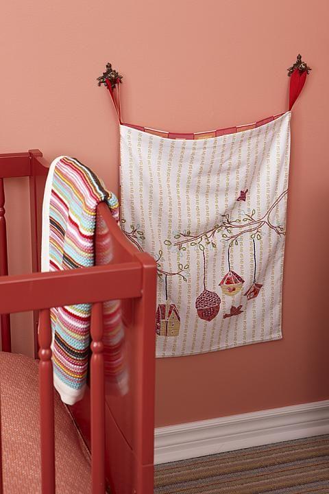 sarah richardson sarah 101 nursery pink red crib detail