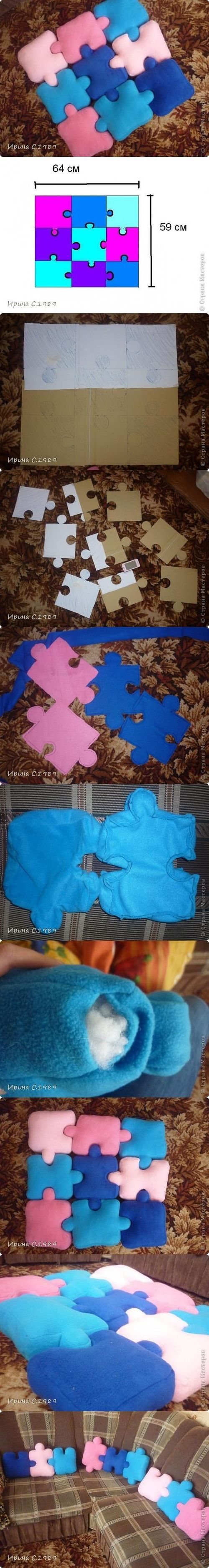 DIY Puzzle Pillows DIY Projects
