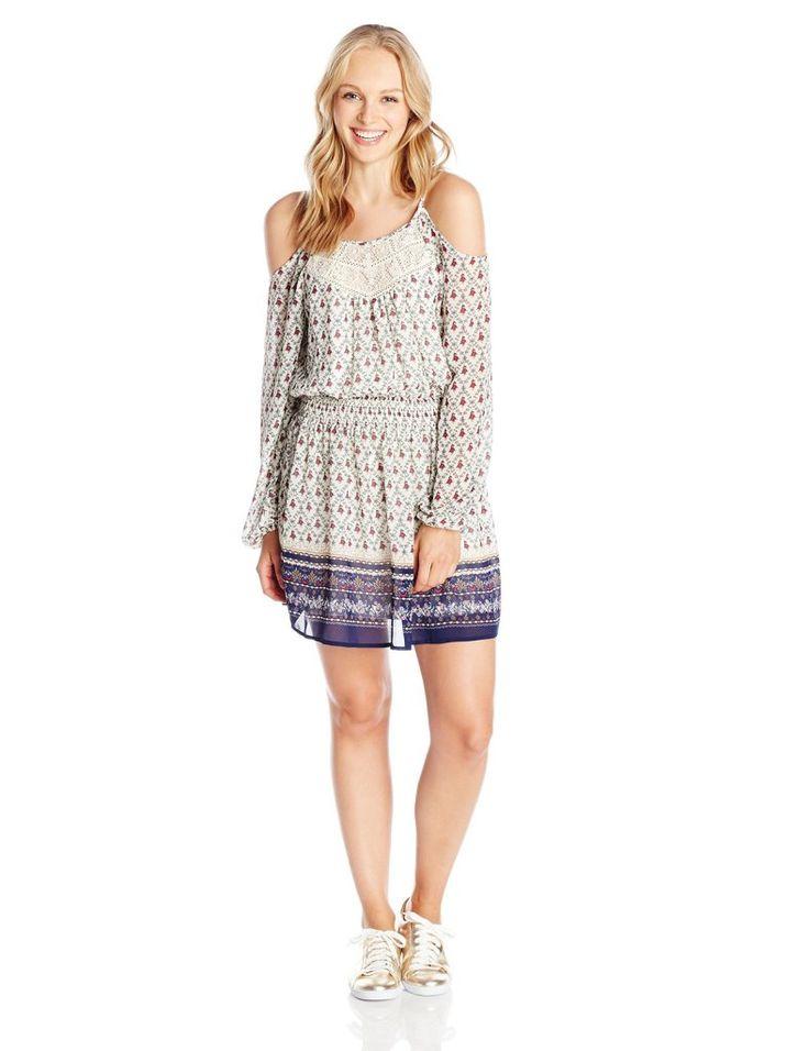 Jolt Junior's Cold Shoulder Printed Dress with Lace Inset