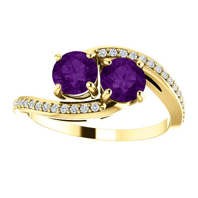 14kt Yellow Gold 5.2mm Round 2 Amethyst Stone And 32 Accent Diamond Engagement…
