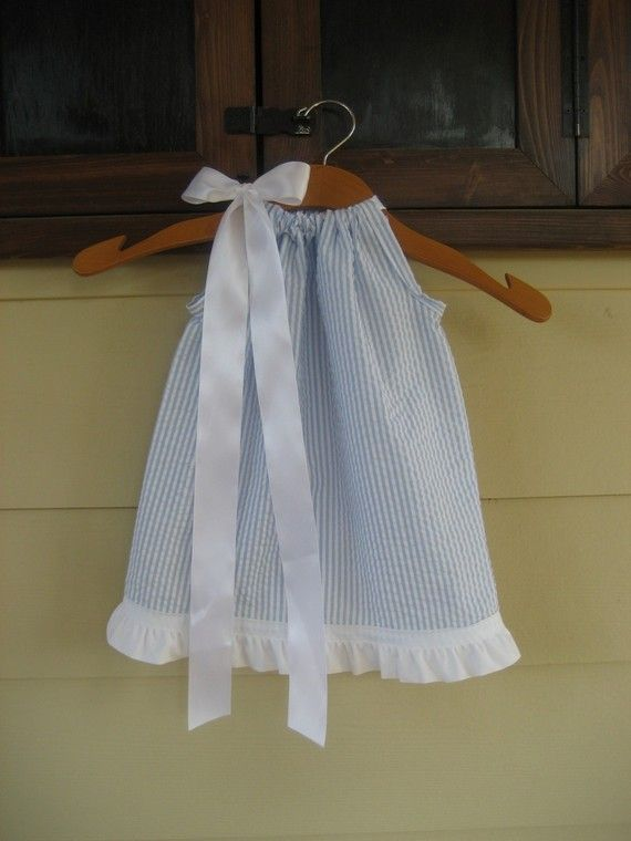 Baby Blue Seersucker Pillowcase Dress - sizes 3m to 5T......GREAT FOR the BEACH, Weddings, and Summer