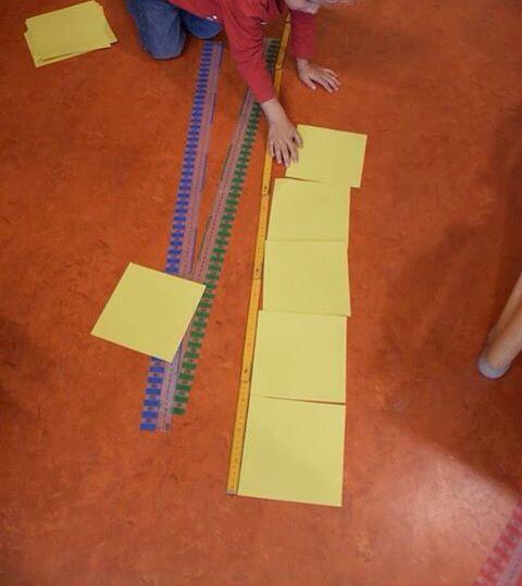 Meethoek in de klas! In bakjes liggen stroken, centimeterbanden, duimstokken en vouwkartonnen. Druk aan de gang met lang-kort-evenlang en hoeveel stroken zijn er nodig voor de rij tafels? Eerst schatten dan nameten. @jufjanneke