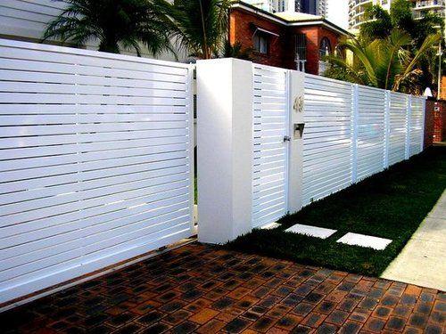 white horizontal slat fence