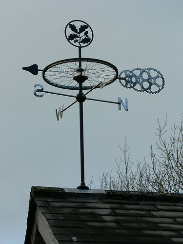 INCORPORATE ENGINE OR BICYCLE PARTS INTO THE WEATHER VANE Weather vane at Box Hill | by Surbiton Arts Lab