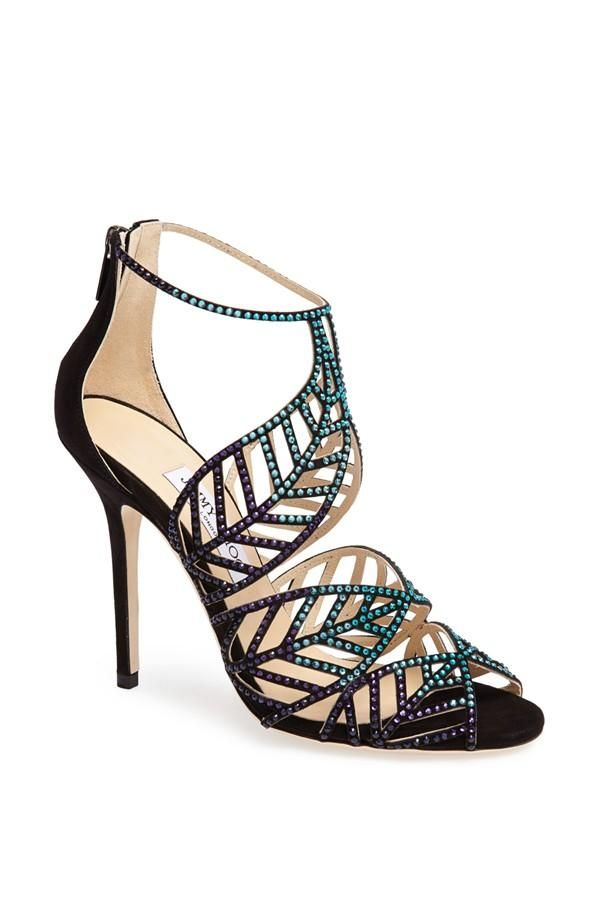 9f2f284e0728 See how others are styling the Jimmy Choo  kallai Leaf  Detailed Cage Sandal  Blue Bottle Mix.
