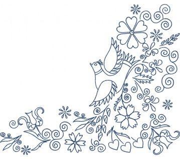Výšivka Vajnory -  RH vtáčik, obrys, 24 x 20 cm