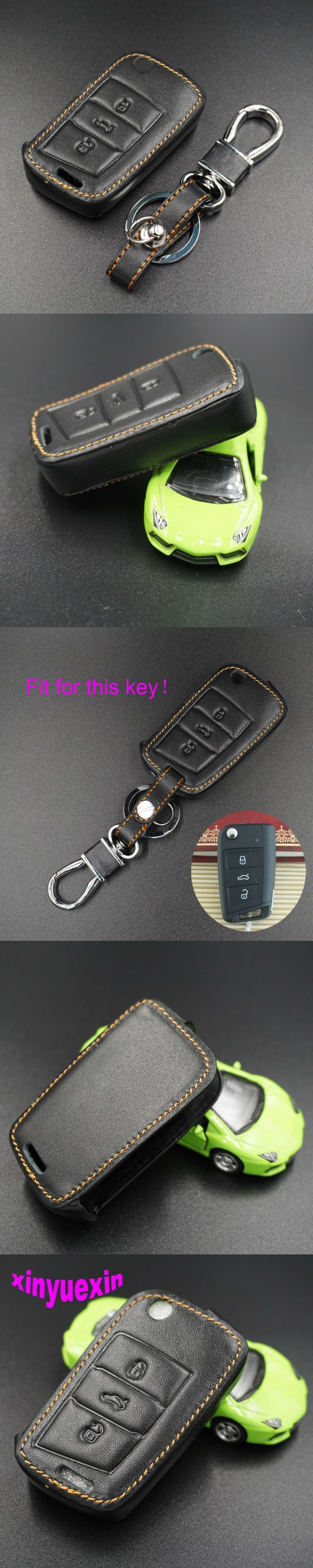 Xinyuexin Leather Car Key Cover Case For VW Golf 7 Leon GTI MK7 Skoda Octavia A7 Seat Ibiza Remote Car Key Jacket With Keychain