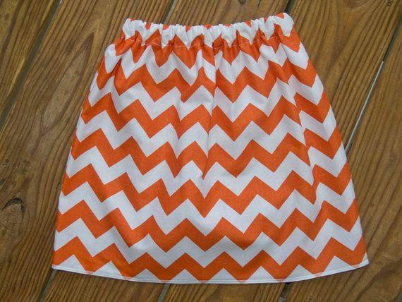 Women's Orange Chevron Skirt ALine Skirt Orange by KarolinaDesigns, $30.00