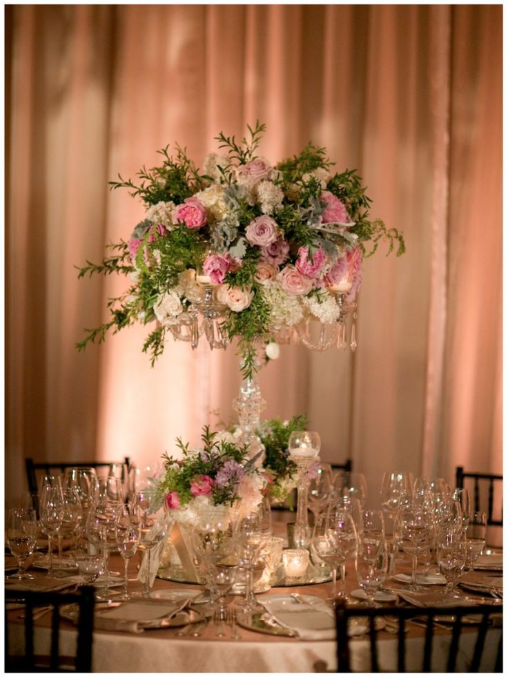 Tall Wedding Centerpiece With Pink Floral Wwww Atmospheresfloral Com Wedding Centerpiece