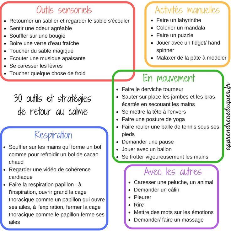 30 outils de retour au calme pour les enfants (colère, stress, hypersensibilité, anxiété)