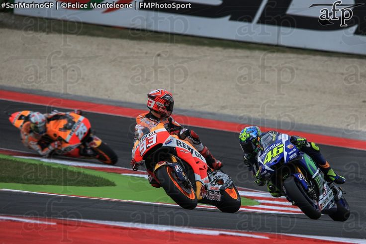 Marc Marquez and Valentino Rossi in action