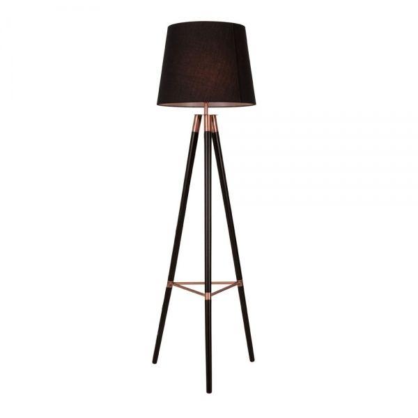 Black Wood & Copper Arlington Tripod Floor Lamp   Modern Lighting