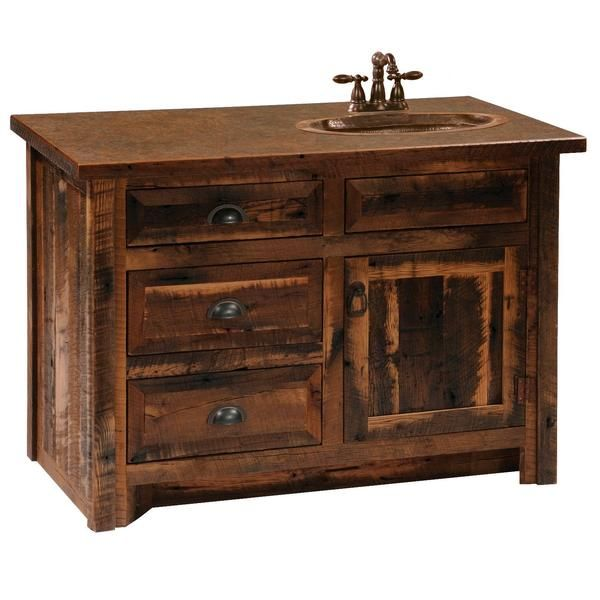 Barnwood Vanity Without Top 36 42 48 Inch Sink Left Right
