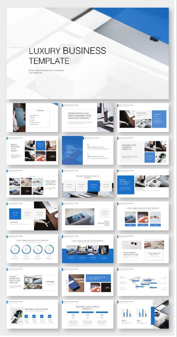 Blue Business Annual Report Powerpoint Template Original And High Quality Powerpoint Templates Powerpoint Design Templates Ppt Template Design Architecture Portfolio