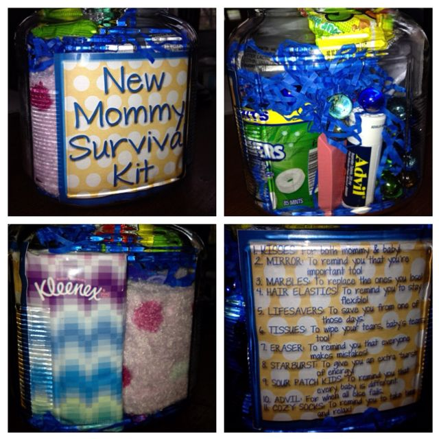 "New Mommy Survival Kit!  1. KISSES: for both mommy & baby! (Hershey kisses)  2. MIRROR: to remind you that you're important too!  3. MARBLES: to replace the ones you lose!  4. HAIR ELASTICS: to remind you to stay flexible!  5. LIFESAVERS: to save you from one of those days.  6. TISSUES: to wipe your tears, baby's tears too!  7. ERASER: to remind you that everyone makes mistakes!  8. STARBURST: to give you an extra ""burst"" of energy!  9. SOUR PATCH KIDS: to remind you that every baby is…"