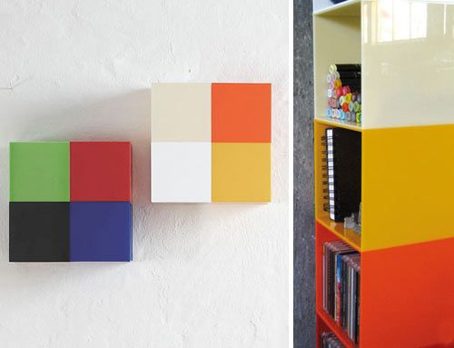 Plixel by Umlaute Designbureau are sets of brightly colored plastic pixel storage cubes that can be arranged in any manner you wish on your walls. As they say, it's flexible wall storage with an attitude.