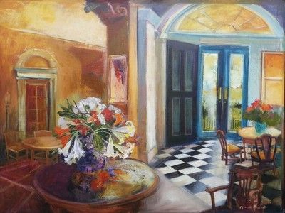 Flowers On Table At Door Entrance - Gradwell Margaret