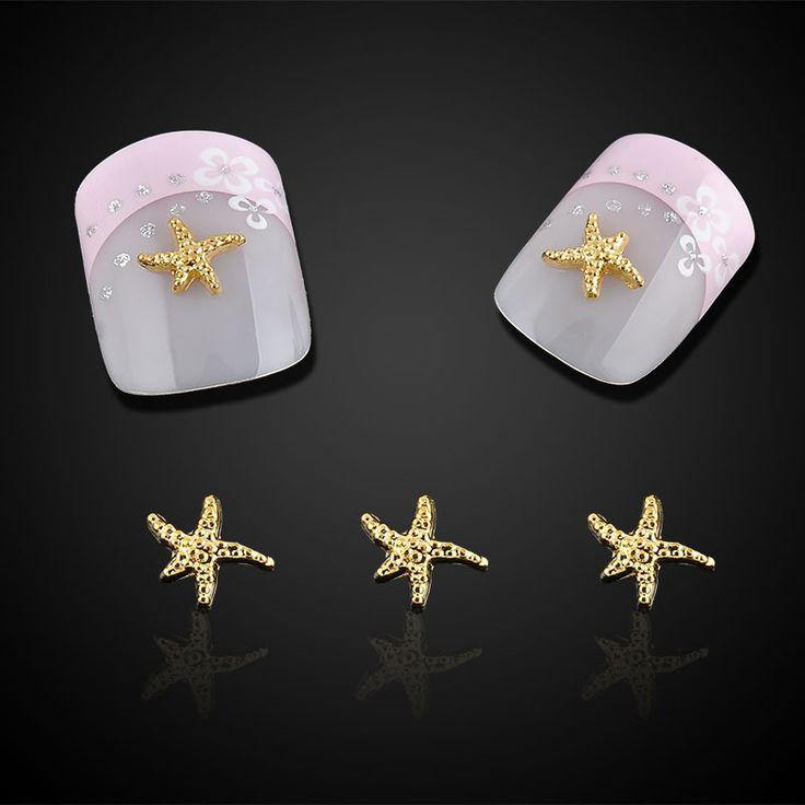 10pc Beauty Starfish Nail Art Decorations Glitter Gold Alloy 3D Nail Jewelry DIY Ocean Series Nails Tips Free Shipping