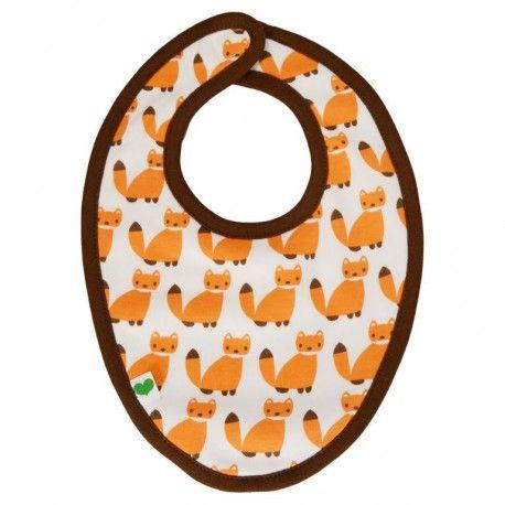 Bib, fair & organic, white with orange foxes and brown edges, Sture & Lisa