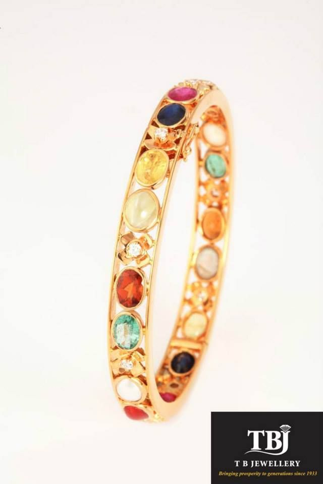 The coming together of the navarathnas #tbjewellery #Goldenmoments #diamond #gold #girlslovediamond #jewellery #navarathna #bangle