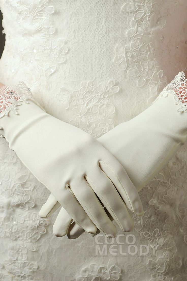 Fingertips Wrist Length Elastic Satin Ivory 23cm Wedding Gloves with Appliques and Rhinestone ST160011 #weddinggloves #weddingessentials #weddingaccessories #cocomelody