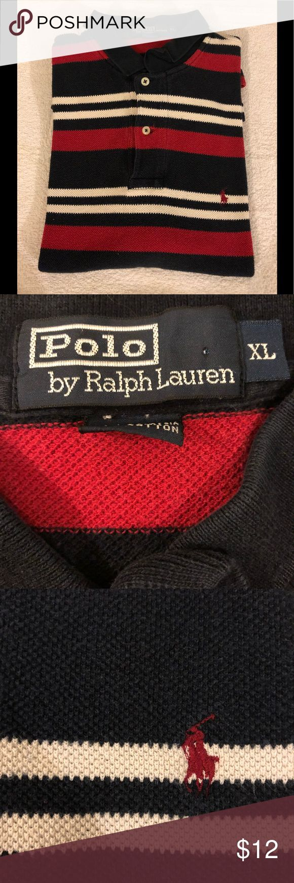 Polo Ralph Lauren Navy Red & White Stripe Shirt XL Polo Ralph Lauren Navy Blue, White and Red Stripe Short Sleeve Polo Shirt size XL! Great condition! Please make reasonable offers and bundle! Ask questions! :) Polo by Ralph Lauren Shirts Polos
