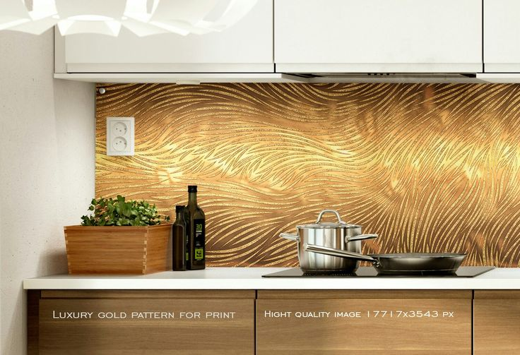 Golden pattern banner for print. Kitchen glass splashback