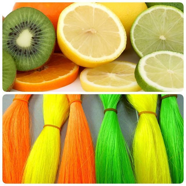 Citrus color inspiration  Anytime Collection Orange, Yellow, and Lime Green.  All brands of kanekalon silky straight are buy one, get one free at I Kick Shins until March 31st!  Find them at ikickshins.net under Braiding Hair > Kanekalon Silky Straight.  #kanekalon #hairextensions #greenhair #yellowhair #orangehair #colorfulhair #anytimecollection #modu