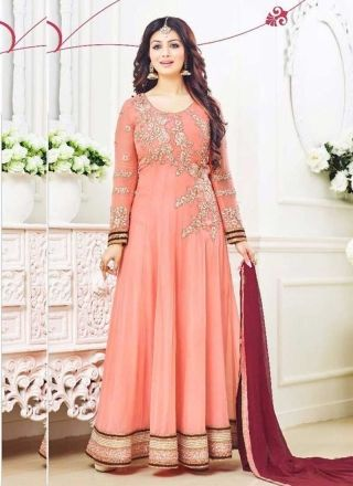 Ayesha Takia Peach Embroidery Cut Work Georgette Anarkali Suit http://www.angelnx.com/Salwar-Kameez/Bollywood-Salwar