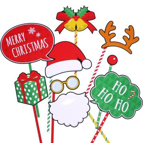 フォトプロップス:クリスマス 01,イベント,ペーパークラフト,クリスマス,クリスマスカラー,サンタクロース,トナカイ,プレゼント,ベル