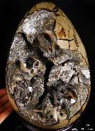 "Titan 10.0"" Dragon Septarian Stone Carved Crystal Skulls Sculpture, Ruby and Green Garnet Eyes, Silver tongue"