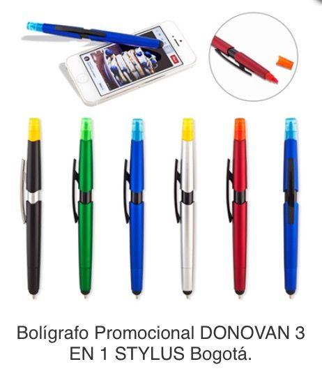Bolígrafo Plástico con Stylus y Resaltador de Tinta Tipo de Producto: IMPORTADO Medidas: 14 cm. Área de Marca: 3 cm. Técnica de Marca: Tampografía. Colores Disponibles: Azul, Negro, Rojo, Silver y Verde.