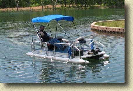 Fish n sport 510 pontoon boats mid mini pontoon boat for Fish camping boat