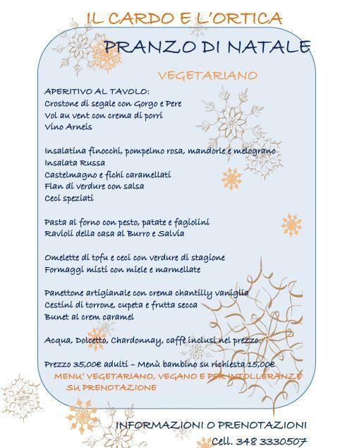 menu natale vegetariano