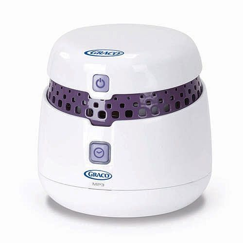 Graco Sweet Slumber Sound Machine / have this beside nursing chair in baby room. Probably more soothing to me than baby during early stressful nursing sessions. I like this much better than Dohm white noise machine- lots more options.