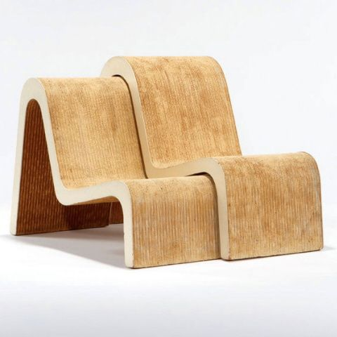 Pair of Nested Chairs by Frank O. Gehry Manufacturer: Easy Edges designed 1969-1973 These examples differ from the production by featuring lighter colored cardboard and Masonite. Dimensions: Largest: 28.5″h x 18″w x 41″d; small: 25.5″h x 18″w x 36″d Estimate: $2000-3000