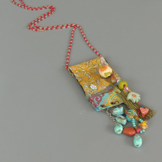 Upcycled fabric Jewelry Bohemian Jewelry Vintage Hindu by ATLIART